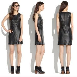 MADEWELL Paneled Leather Tank Dress Solid 100%